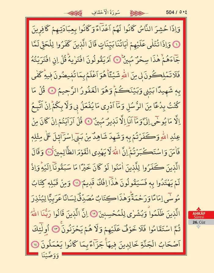 Ahkaf Suresi - 502.Sayfa - 26. Cüzün 1. Hizbi