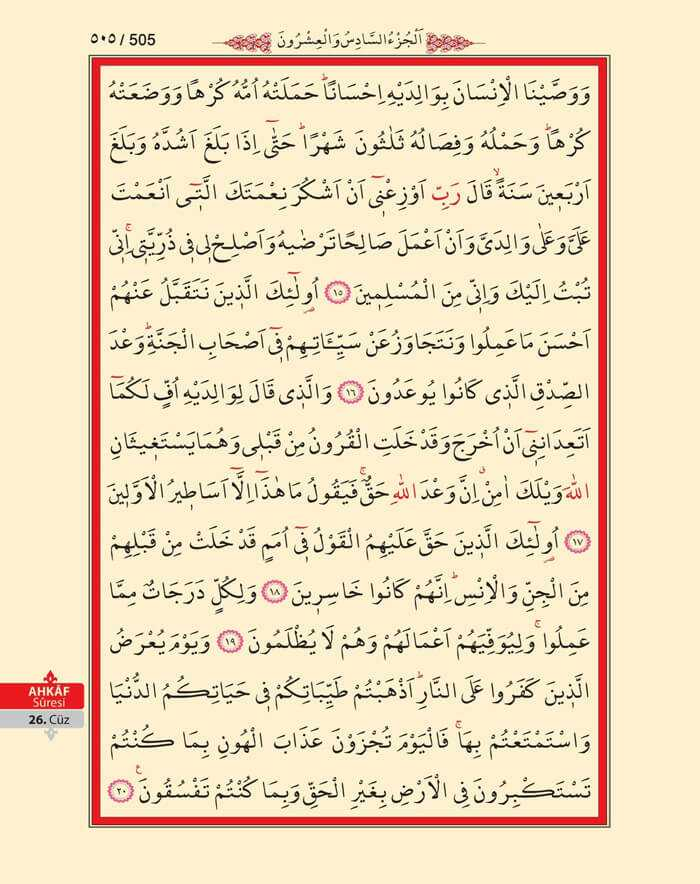 Ahkaf Suresi - 503.Sayfa - 26. Cüzün 1. Hizbi