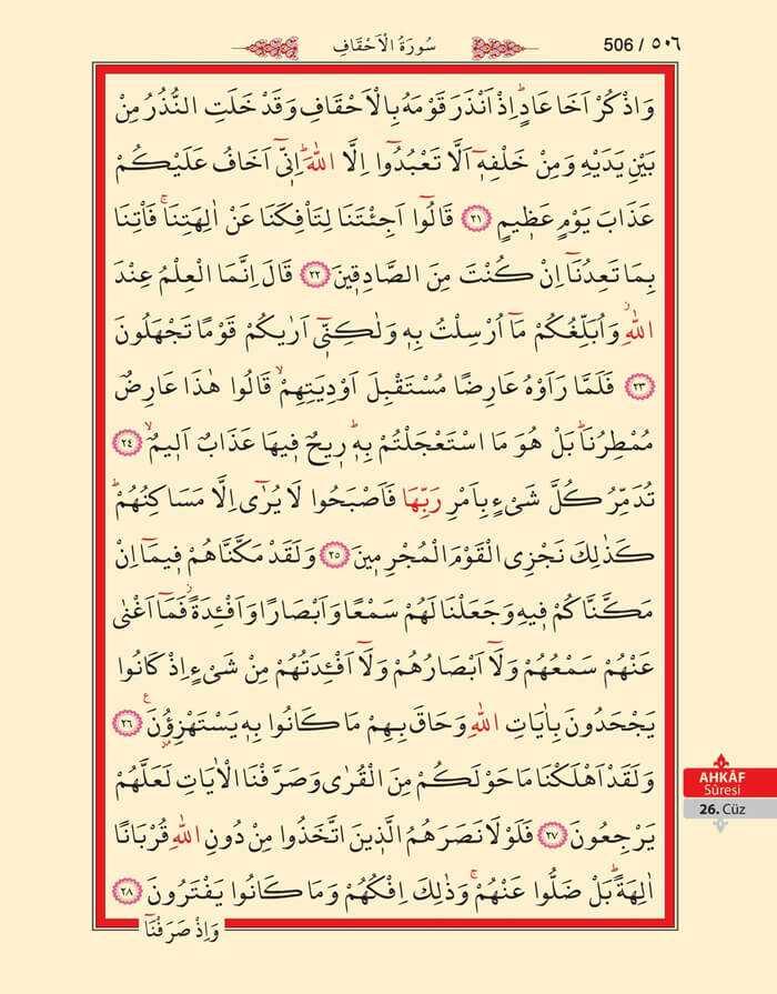 Ahkaf Suresi - 504.Sayfa - 26. Cüzün 1. Hizbi