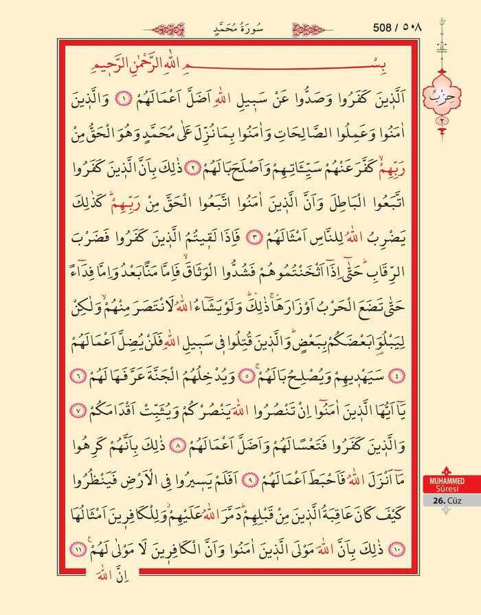 Muhammed Suresi - 506.Sayfa - 26. Cüzün 2. Hizbi