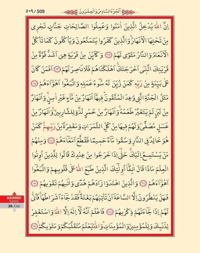 Muhammed Suresi - 507.Sayfa - 26. Cüzün 2. Hizbi