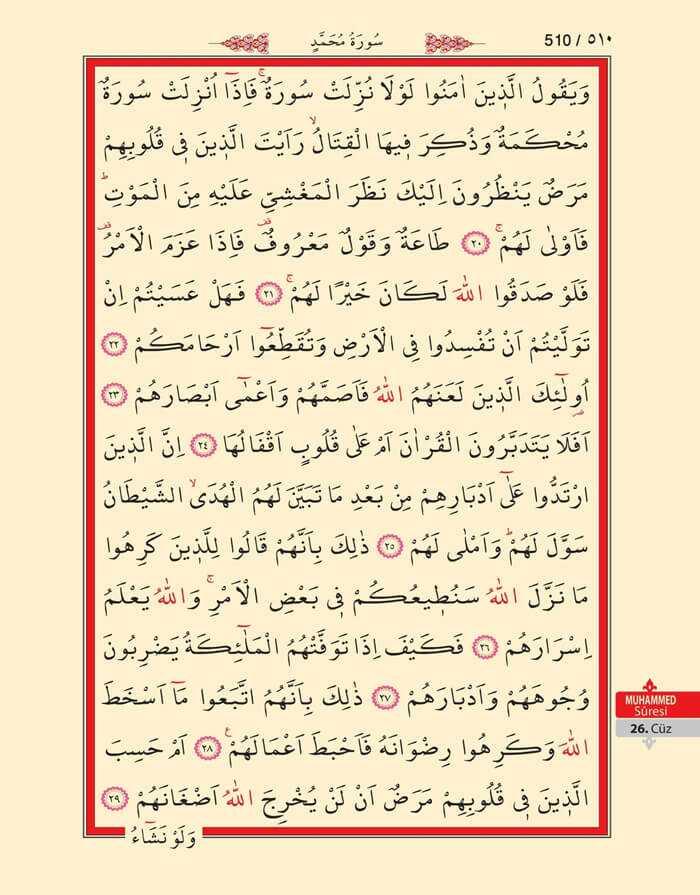 Muhammed Suresi - 508.Sayfa - 26. Cüzün 2. Hizbi