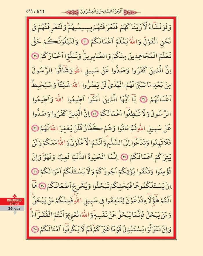 Muhammed Suresi - 509.Sayfa - 26. Cüzün 2. Hizbi