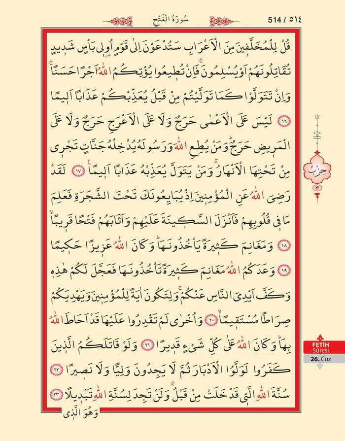 Fetih Suresi - 512.Sayfa - 26. Cüzün 3. Hizbi