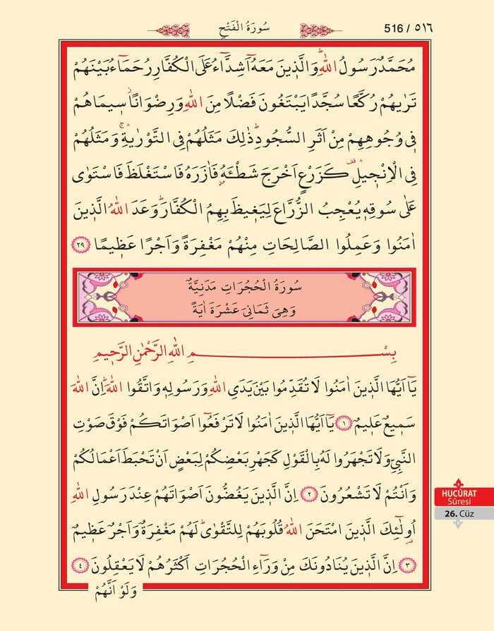Fetih, Hucurat Suresi - 514.Sayfa - 26. Cüzün 3. Hizbi