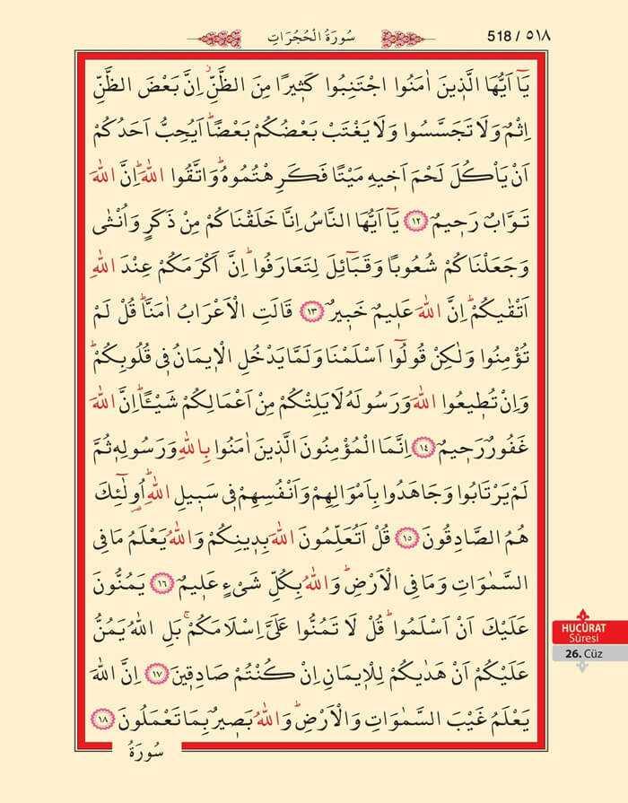 Hucurat Suresi - 516.Sayfa - 26. Cüzün 3. Hizbi