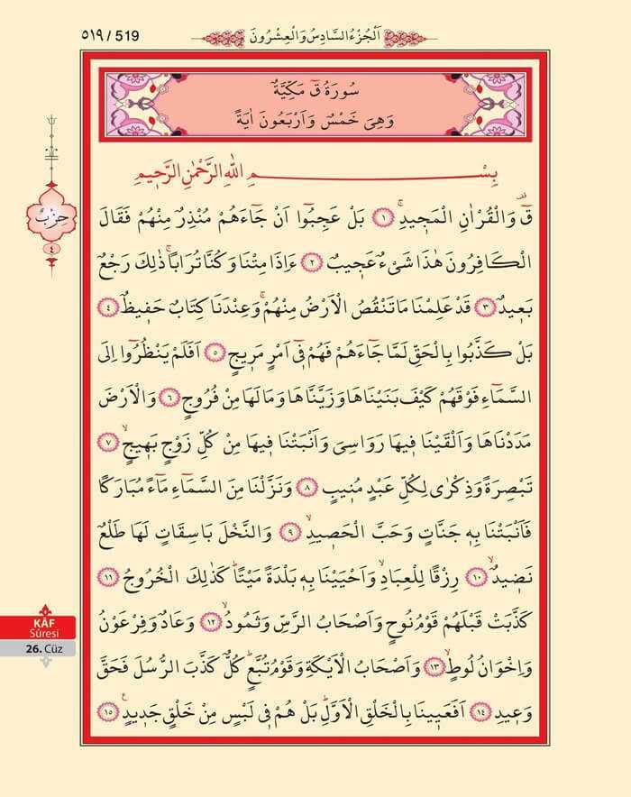 Kaf Suresi - 517.Sayfa - 26. Cüzün 4. Hizbi