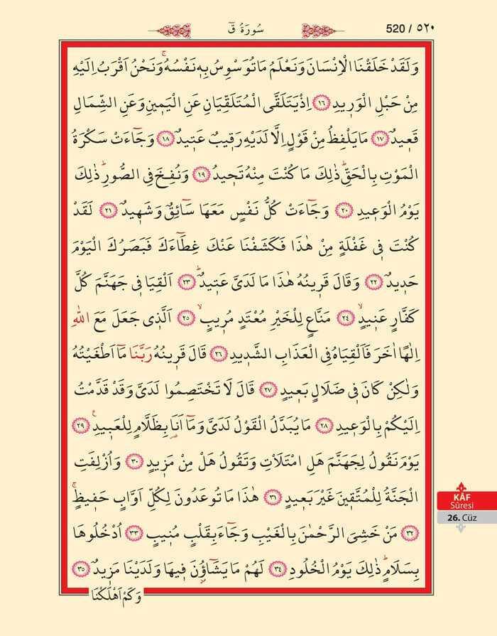 Kaf Suresi - 518.Sayfa - 26. Cüzün 4. Hizbi