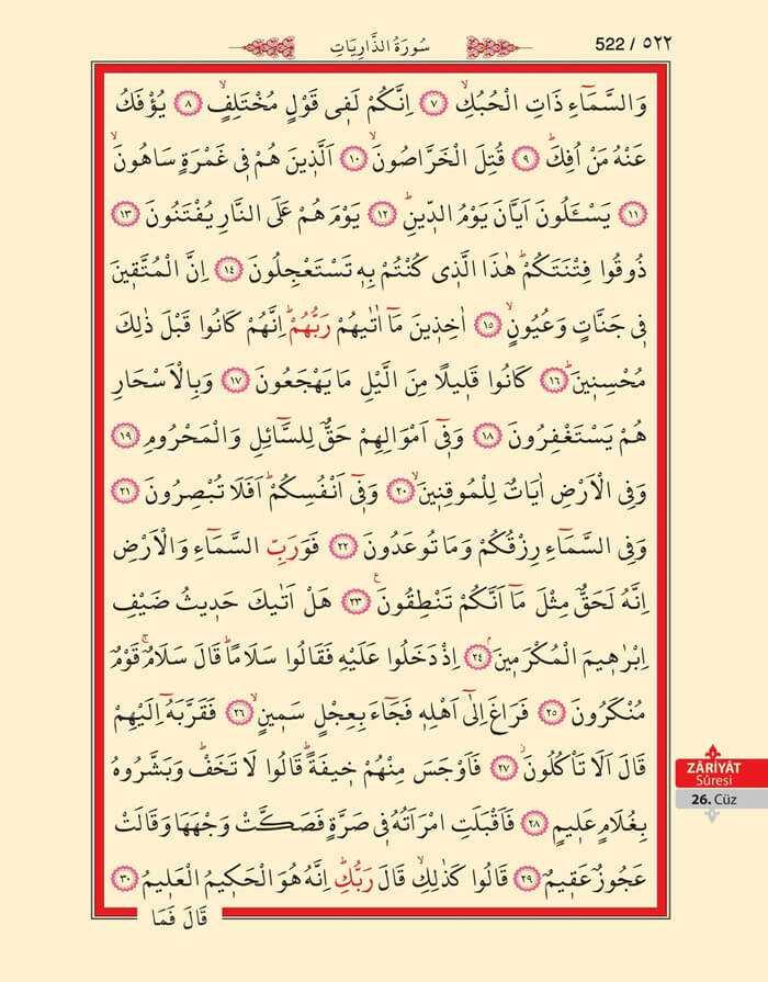 Zariyat Suresi - 520.Sayfa - 26. Cüzün 4. Hizbi