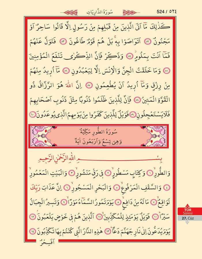 Zariyat,Tur Suresi - 522.Sayfa - 27. Cüzün 1. Hizbi
