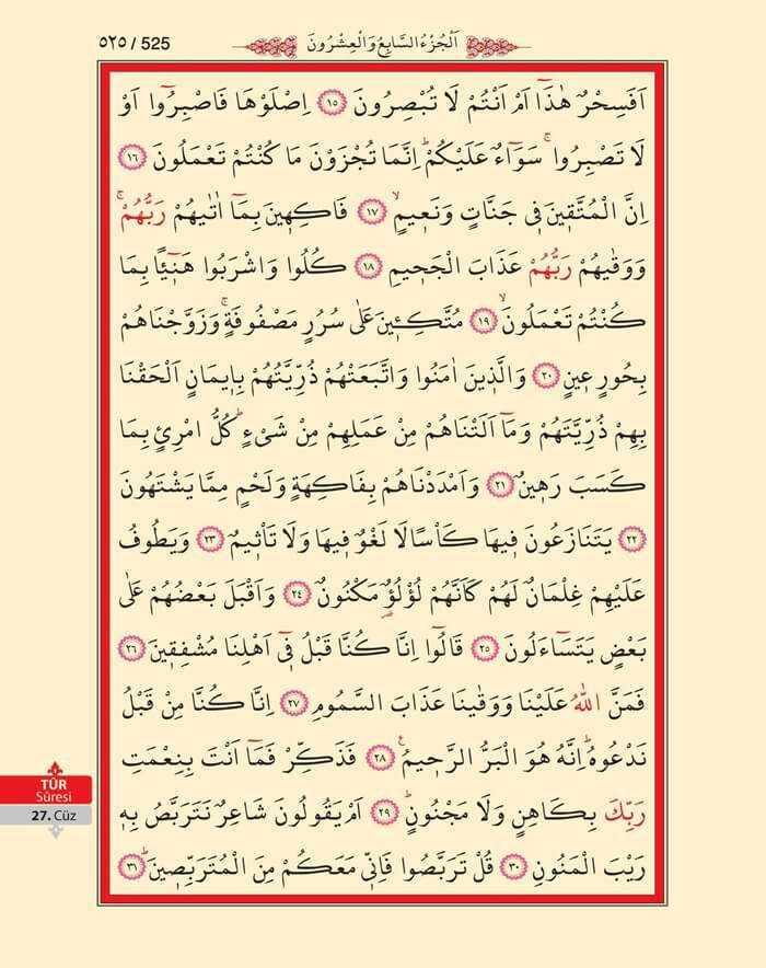 Tur Suresi - 523.Sayfa - 27. Cüzün 1. Hizbi