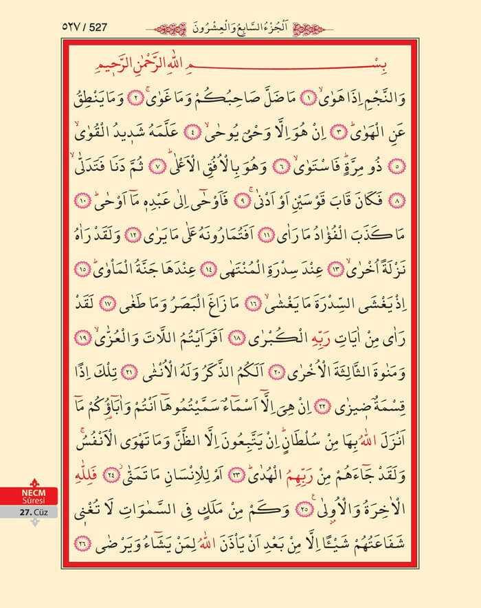 Necm Suresi - 525.Sayfa - 27. Cüzün 1. Hizbi