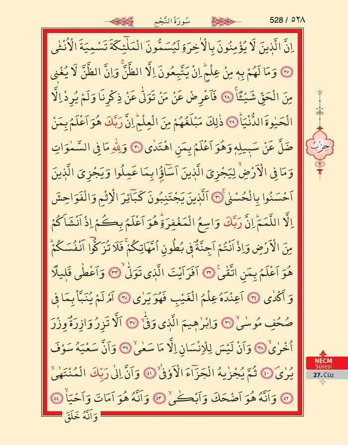 Necm Suresi - 526.Sayfa - 27. Cüzün 2. Hizbi