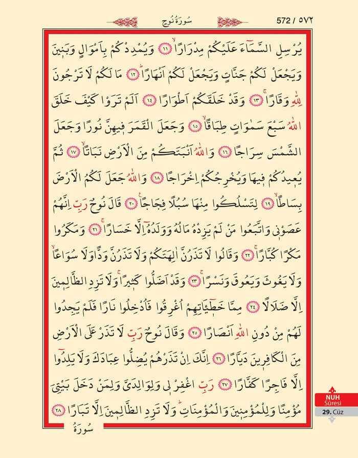 Nuh Suresi - 570.Sayfa - 29. Cüzün 2. Hizbi