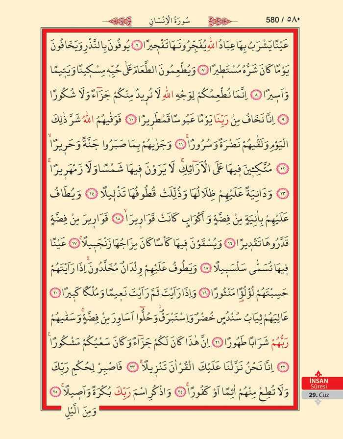 İnsan Suresi - 578.Sayfa - 29. Cüzün 4. Hizbi