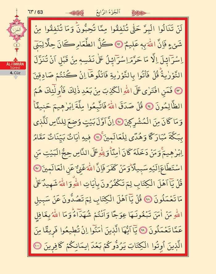 Âl-i İmran Sûresi - 61.Sayfa - 4. Cüzün 1. Hizbi