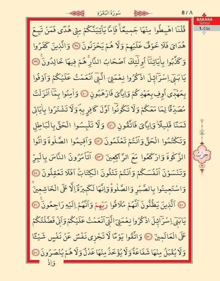 Bakara Sûresi - Altıncı (6).Sayfa - 1. Cüzün 2. Hizbi