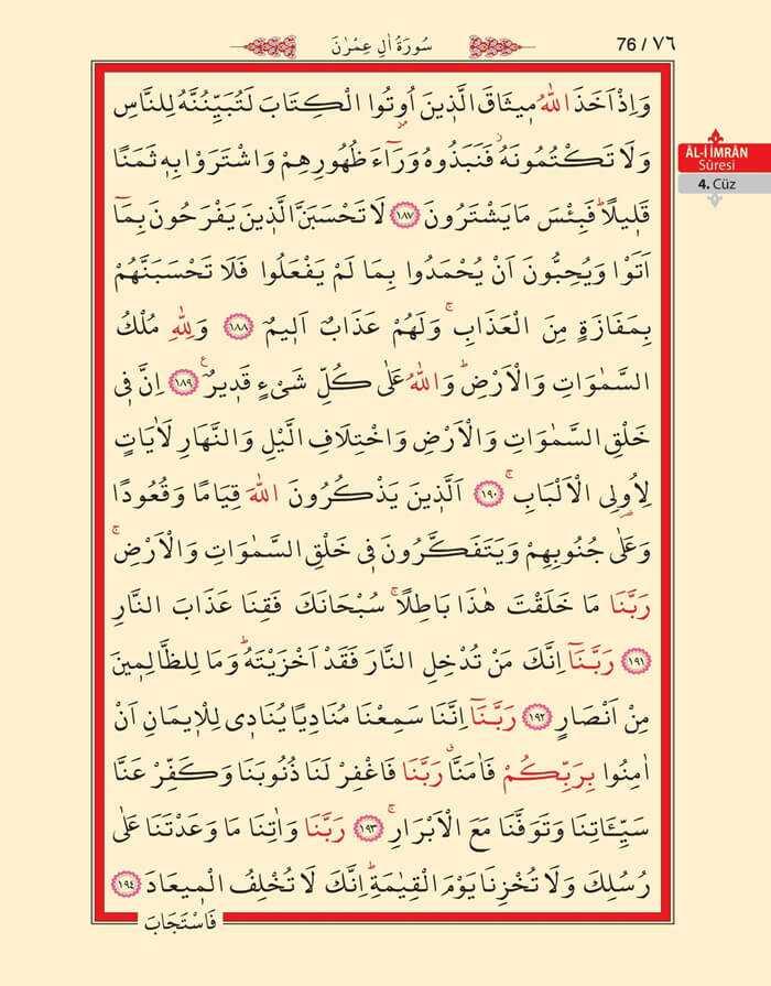 Âl-i İmran Sûresi - 74.Sayfa - 4. Cüzün 3. Hizbi