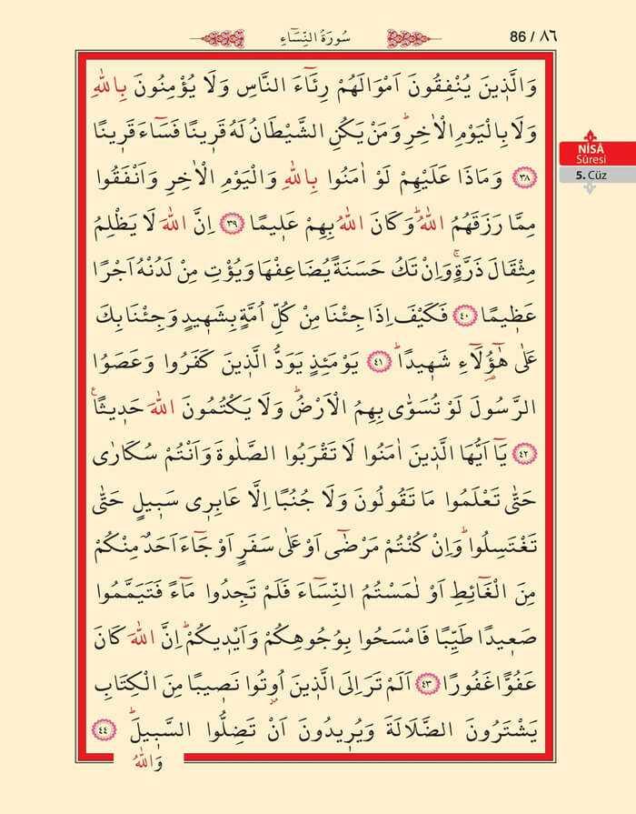 Nisa Sûresi - 84.Sayfa - 5. Cüzün 1. Hizbi