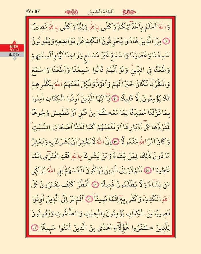 Nisa Sûresi - 85.Sayfa - 5. Cüzün 1. Hizbi