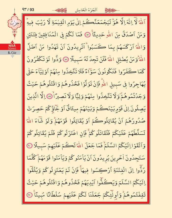 Nisa Sûresi - 91.Sayfa - 5. Cüzün 3. Hizbi
