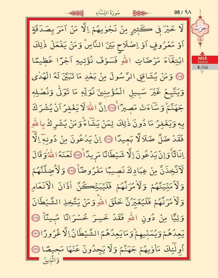 Nisa Sûresi - 96.Sayfa - 5. Cüzün 4. Hizbi